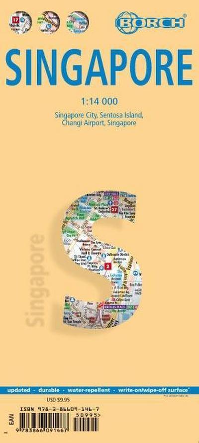 Singapur: 1:14 000. Einzelkarten: Singapur City 1:14 000, Singapur 1:120 000, Sentosa Island 1:25 000, Changi Airport 1:4 000, Public Transportation SMRT