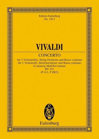 Concerto g-Moll: RV 531 (P 411, F III/2). 2 Violoncelli, Streichorchester und Basso continuo. Studienpartitur. (Eulenburg Studienpartituren)