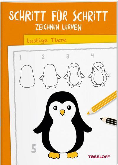 Schritt für Schritt Zeichnen lernen. Lustige Tiere