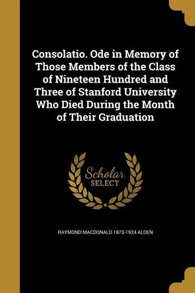 CONSOLATIO ODE IN MEMORY OF TH