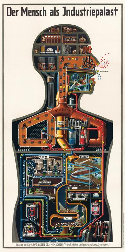 Kahn, F: Mensch als Industriepalast - Werkstoff Verlag - Poster, Deutsch, Fritz Kahn, Ein faszinierender Einblick in den menschlichen Körper, Ein faszinierender Einblick in den menschlichen Körper
