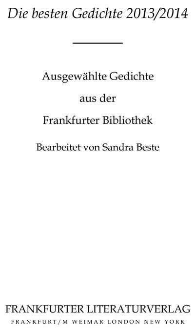 Die besten Gedichte 2013/2014