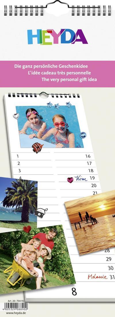 Heyda 2070491Kreativkalender weiß Streifenkalender