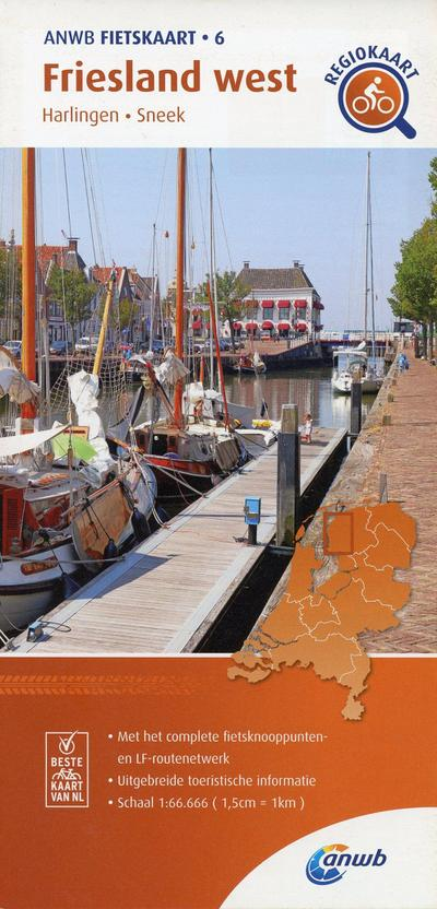 Friesland West cycling map: Harlingen, Sneek (ANWB fietskaart (6)): 1:66.666