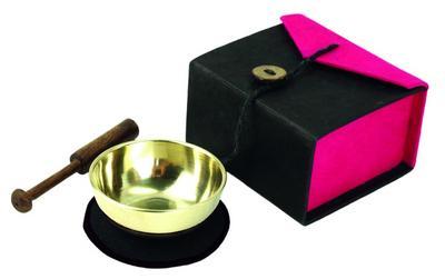 Mini-Klangschale in Box (schwarz / pink)