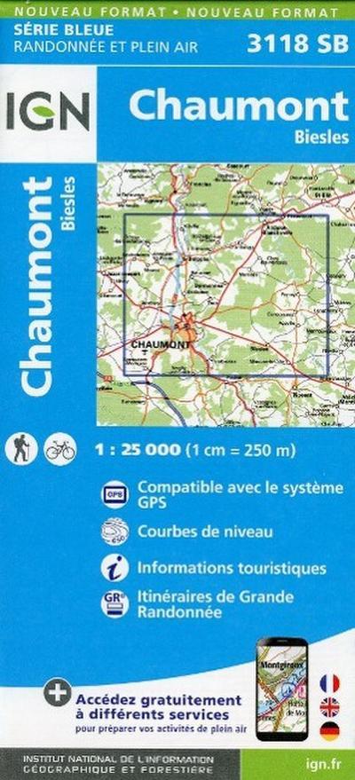 Chaumont Biesles 1 : 25 000 Carte Topographique Serie Bleue Itineraires de Randonnee