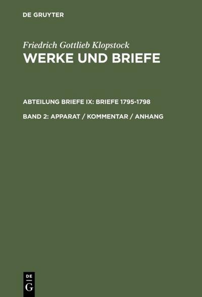 Klopstock Werke und Briefe Bd. 2  -  Apparat / Kommentar / Anhang