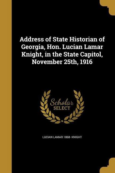 ADDRESS OF STATE HISTORIAN OF