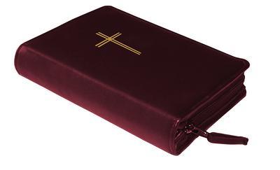 Gotteslobhülle Rindsleder DELUXE mit Goldprägung Kreuz. weinrot