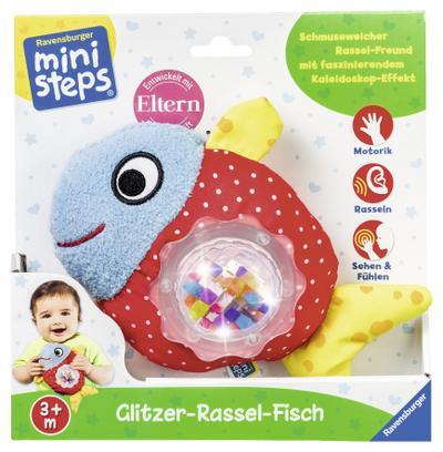 Glitzer-Rassel-Fisch; Ab 3 Monaten; ministeps Spiele; Deutsch; Warnhinweis nach Spielzeug-VO nicht erforderlich.