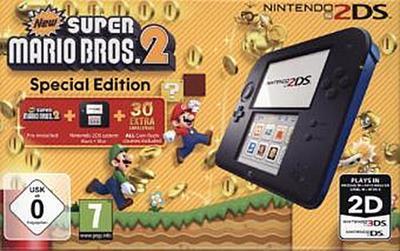 Nintendo 2DS - Konsole (schwarz) inkl. New Super Mario Bros. 2 (vorinstalliert)