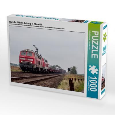 Baureihe 218 mit Autozug in Klanxbüll (Puzzle)