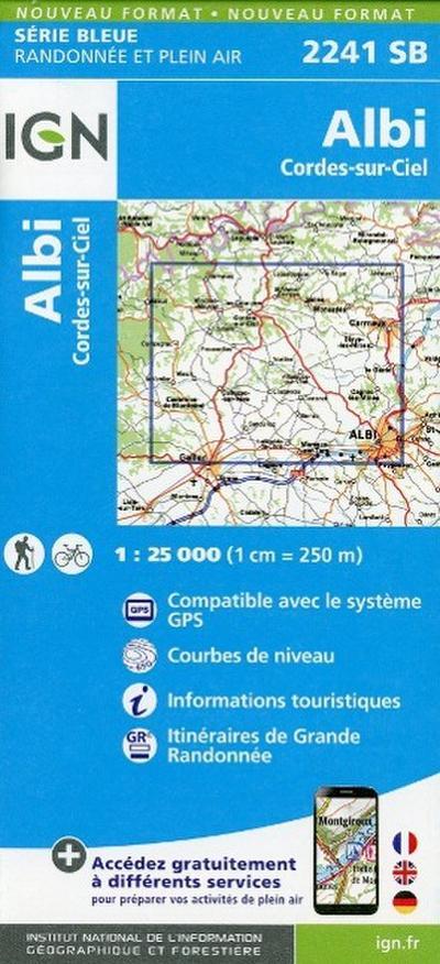Albi Cordes sur Ciel 1 : 25 000 Carte Topographique Serie Bleue Itineraires de Randonnee