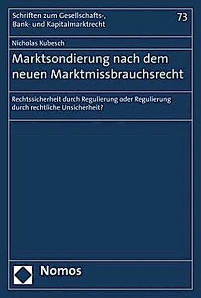 Marktsondierung nach dem neuen Marktmissbrauchsrecht
