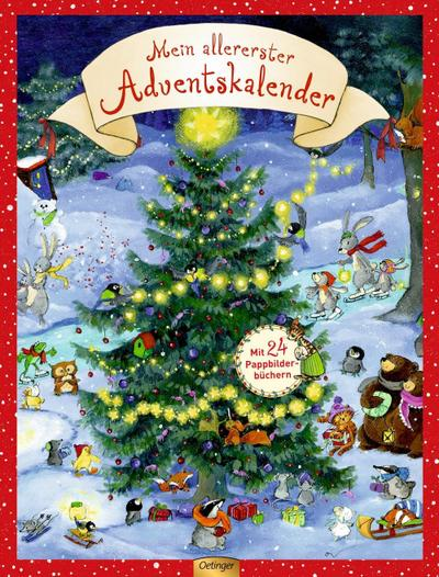 Mein allererster Adventskalender; mit 24 Pappbilderbüchern zum Herausnehmen; Ill. v. Kaden, Outi/Walentowitz, Steffen/Nordqvist, Sven; Deutsch; 4 farb. Abb. 4 Ill.