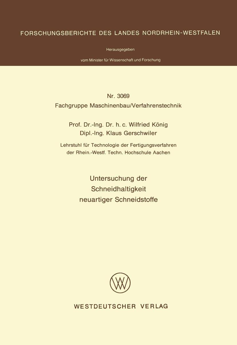 Untersuchung der Schneidhaltigkeit neuartiger Schneidstoffe  ... 9783531030692