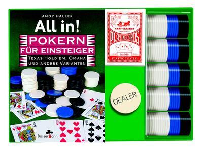 All in! Pokern für Einsteiger. Texas Hold'em, Omaha und andere Varianten. Buch plus Karten, Chips und Dealer Button