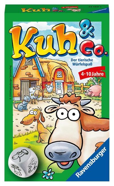 Ravensburger 23160 - Kuh und co, Mitbringspiel für 2-6 Spieler, Kinderspiel ab 4 Jahren, kompaktes Format, Reisespiel