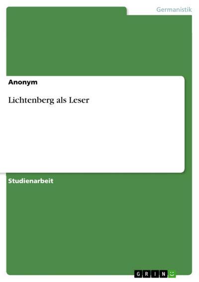 Lichtenberg als Leser