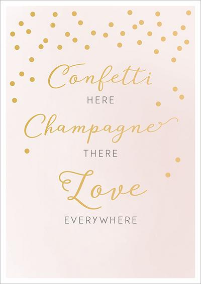 Doppelkarte zur Hochzeit 'Confetti here, champagner there, love everywhere'; Deutsch