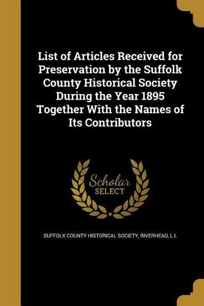 LIST OF ARTICLES RECEIVED FOR