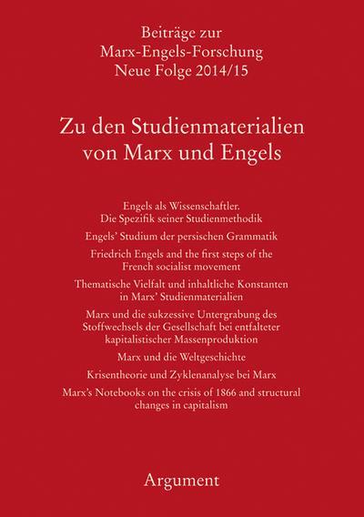Zu den Studienmaterialien von Marx und Engels; Beiträge zur Marx-Engels-Forschung; Hrsg. v. Hecker, Rolf/Sperl, Richard/Vollgraf, Carl-Erich; Deutsch