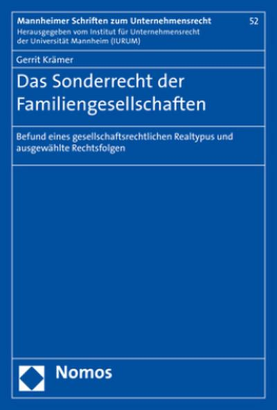 Das Sonderrecht der Familiengesellschaften