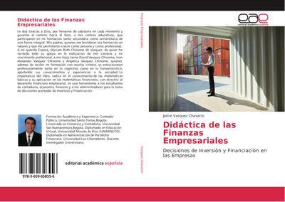Didáctica de las Finanzas Empresariales