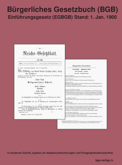 Bürgerliches Gesetzbuch (BGB) Einführungsgesetz (EGBGB) Stand: 1. Jan. 1900