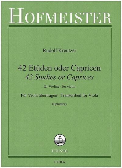 42 Etüden oder Capricen fürVioline für Viola übertragen