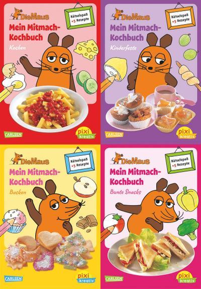 Pixi kreativ Serie Nr. 17: 4er Bundle: Mitmach-Kochbücher mit der Maus