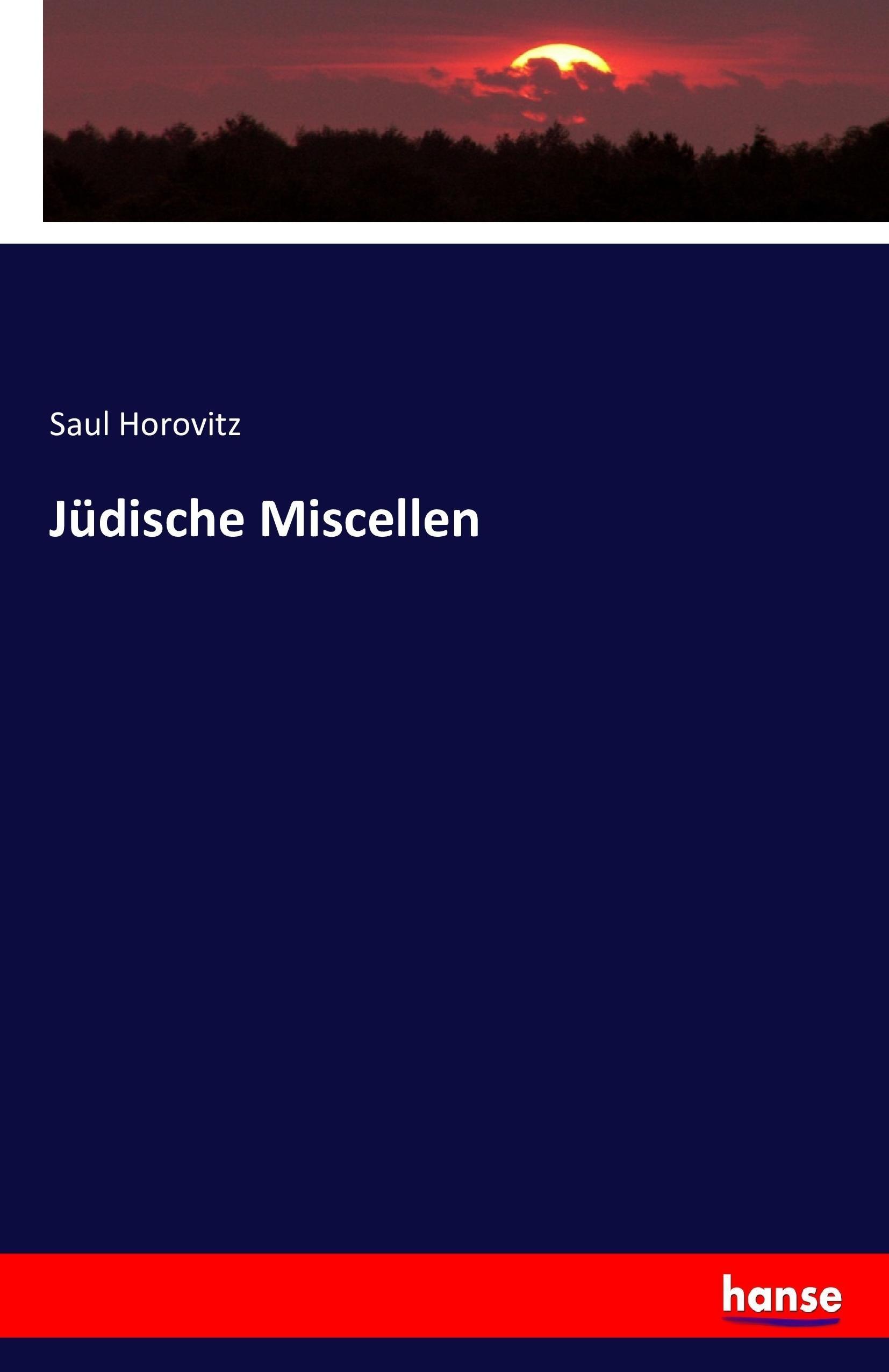 Jüdische Miscellen Saul Horovitz
