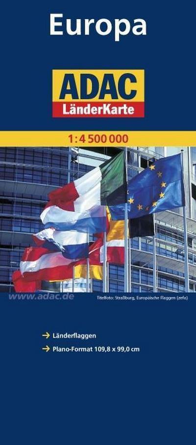 ADAC LänderKarte Europa 1:4 500 000, plano (ADAC Planokarten)