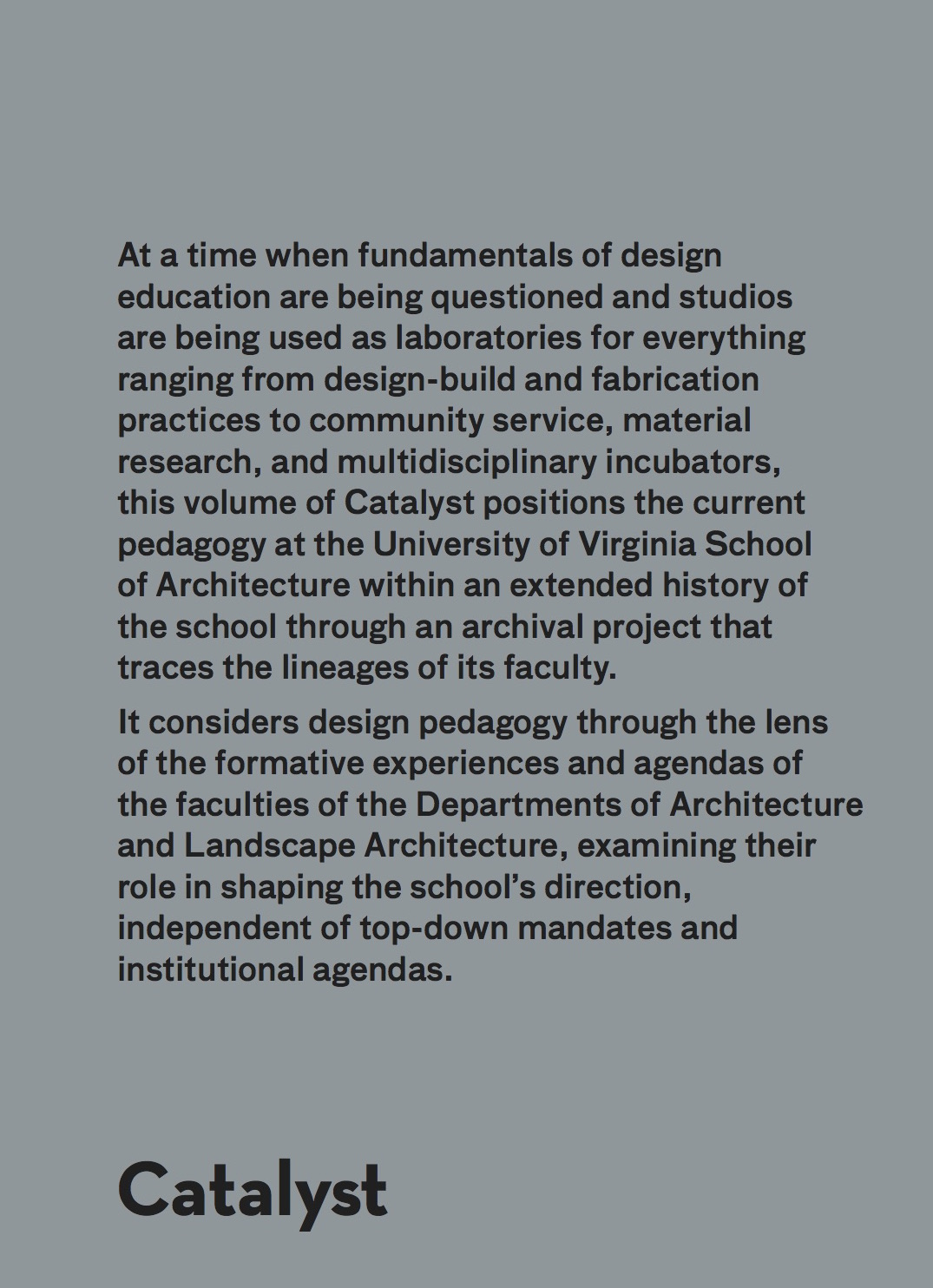 Catalyst: Lineages & Trajectories Ghazal Abbasy-Asbagh