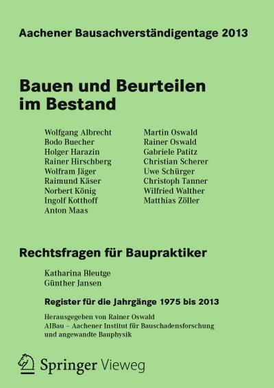 Aachener Bausachverständigentage 2013