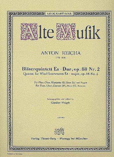 Quintett Es-Dur op.88,2 :für Flöte, Oboe, Klarinette, Horn in Es und Fagott