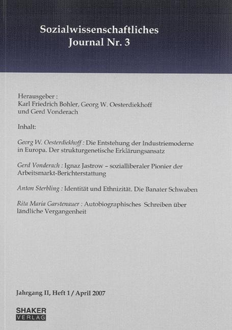 Sozialwissenschaftliches Journal/Jahrg. II, Heft 1/2007 Karl F. Bohler