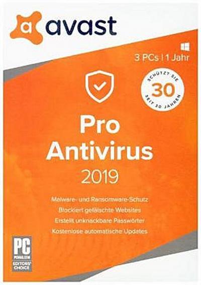 AVAST PRO AntiVirus 2019 - 3 PCs, 1 DVD-ROM