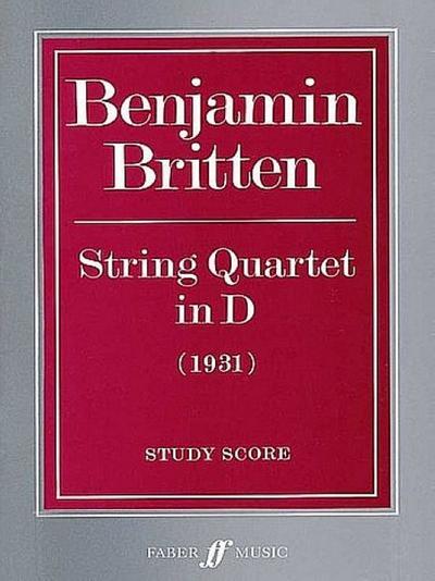 String Quartet D major study score