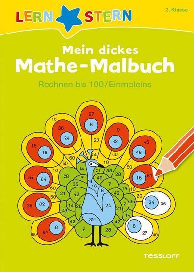 Mein dickes Mathe-Malbuch. Rechnen bis 100/ Einmaleins; LERNSTERN; Ill. v. Blendinger, Johannes; Deutsch; Abreißblock s/w; 48 Ausmalbilder
