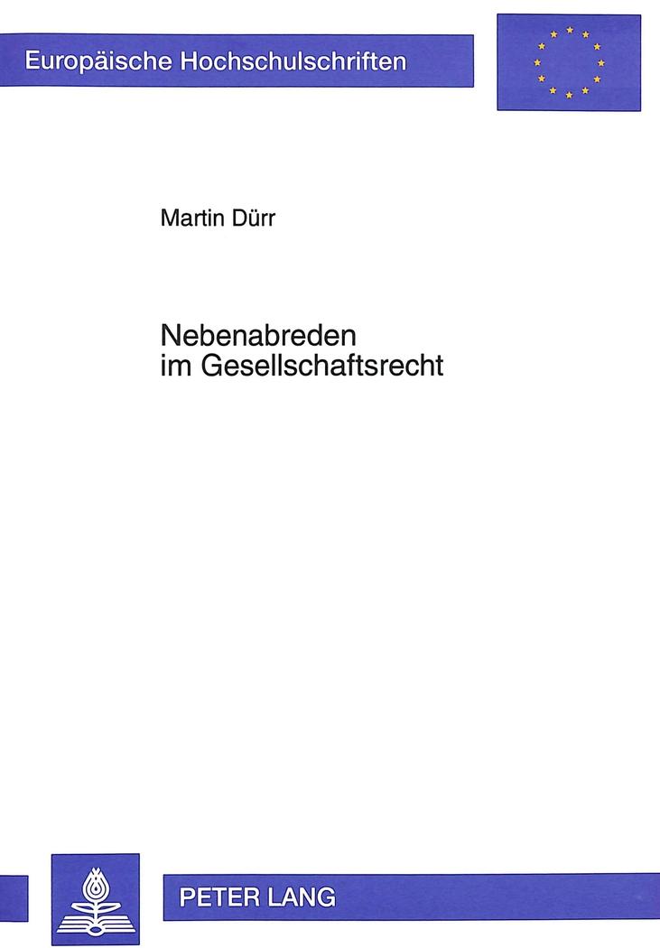 Nebenabreden im Gesellschaftsrecht ~ Martin Dürr ~  9783631481448