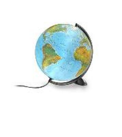 Atmosphere Ellipse B: Doppelbild-Leuchtglobus phys./polit., 30 cm Durchm., modernes schwarzes Gestell (Klassischer Globus) - Räthgloben 1917 - Landkarte, Deutsch, , ,