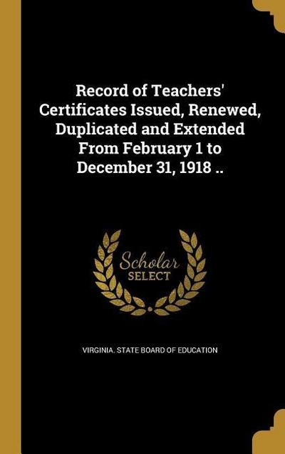 RECORD OF TEACHERS CERTIFICATE