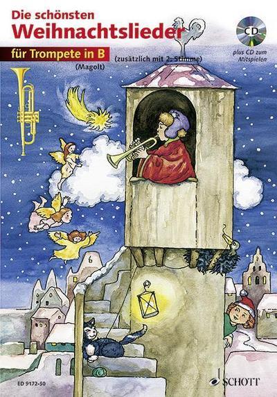 Die schönsten Weihnachtslieder, Notenausg. m. Audio-CDs Für 1-2 Trompeten, m. Audio-CD