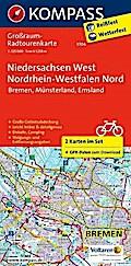 Niedersachsen West, Nordrhein-Westfalen Nord. Großraum-Radtourenkarte 1:125 000
