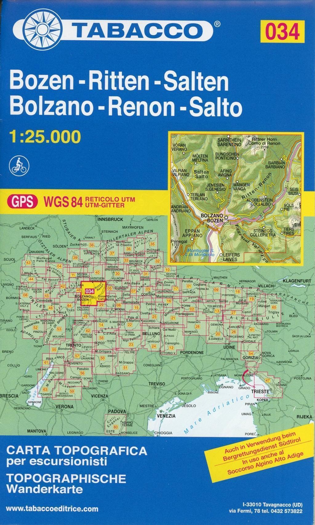 Tabacco Wandern Bozen-Ritten-Salten-Bolzano-Renon-Salto  1 : 25 000