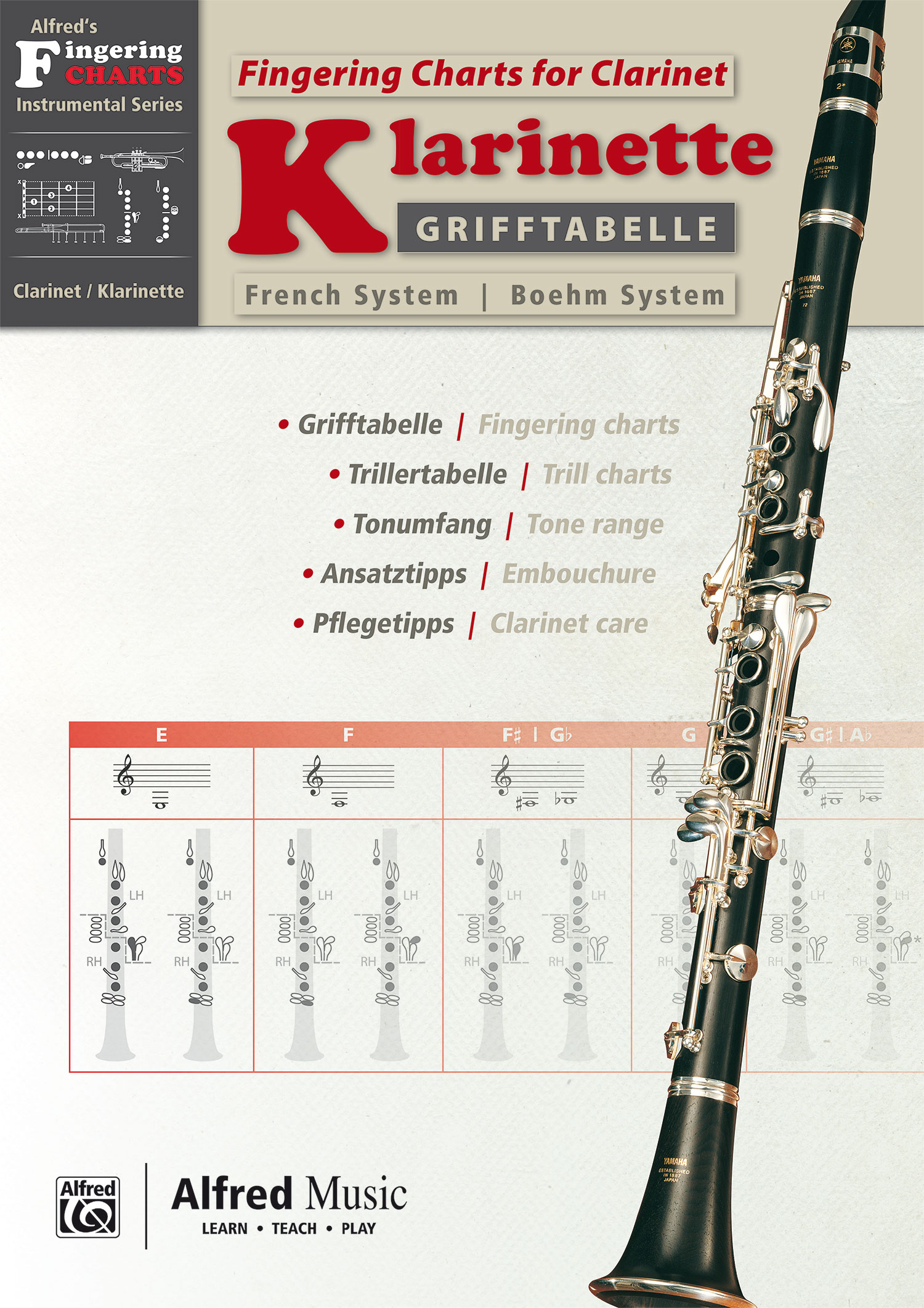 Grifftabelle Klarinette Boehm System | Fingering Charts for Bb-Clarinet Fre ...