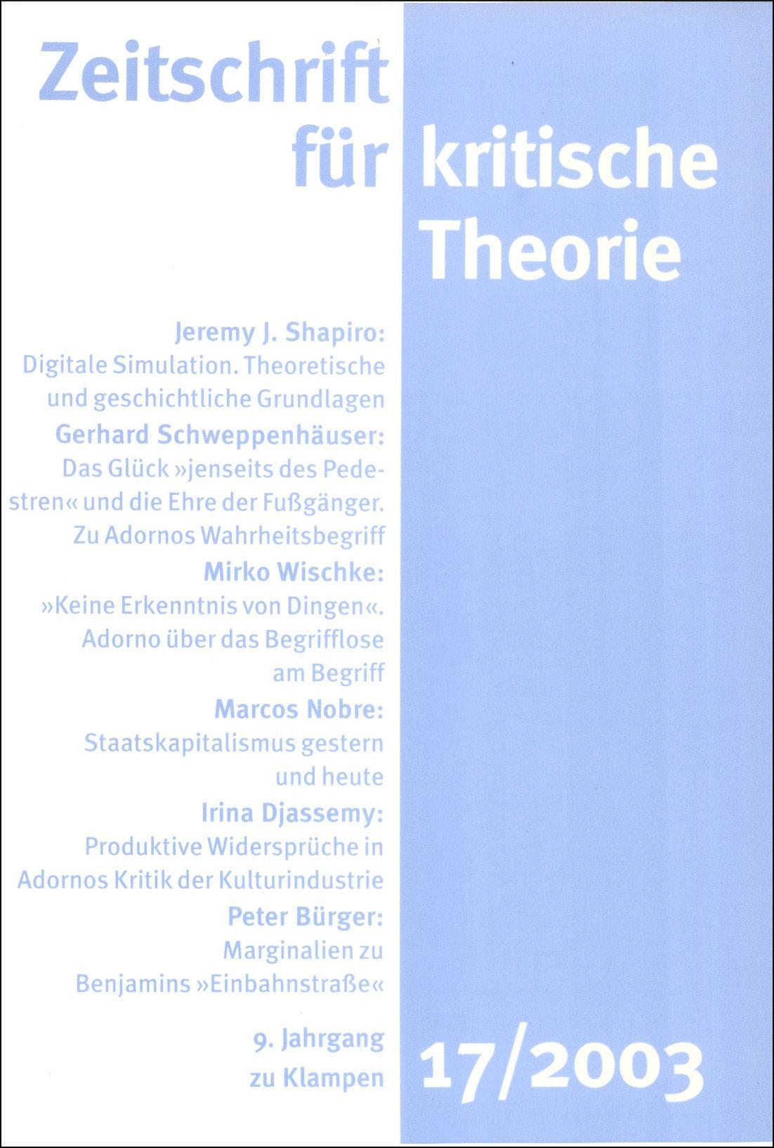 Zeitschrift für kritische Theorie 17/2003, Gerhard Schweppenhäuser