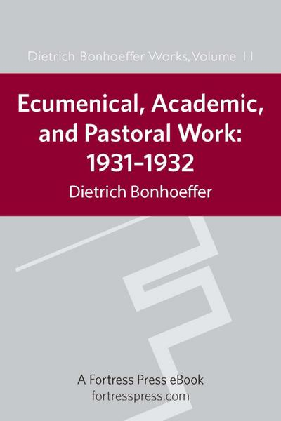 Ecumenical, Academic, and Pastoral Work