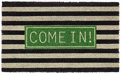 Come in, Fussmatte, beige/schwarz/grün